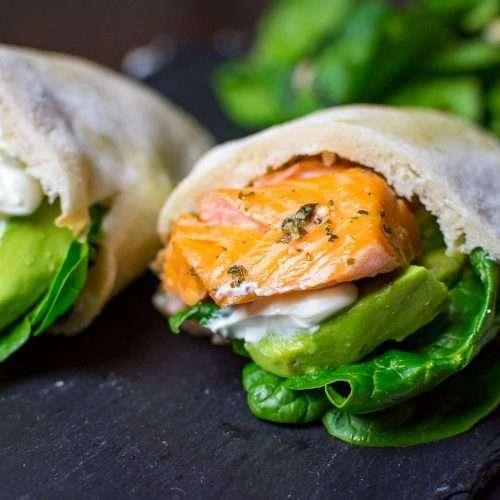 Salmon and Avocado Pitta